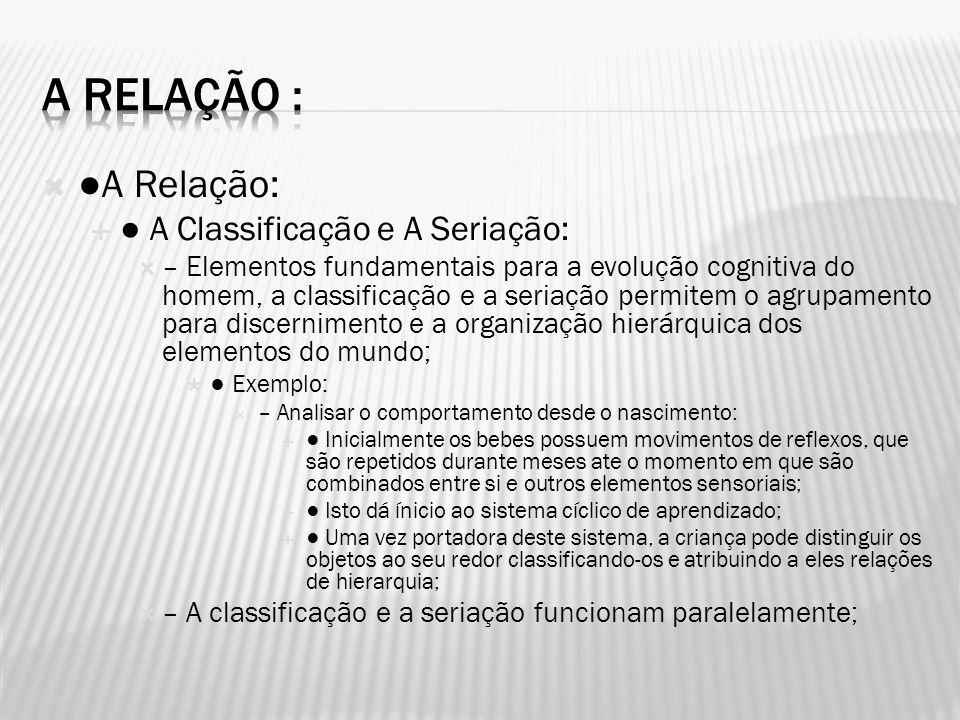 A Relação : ●A Relação: ● A Classificação e A Seriação: