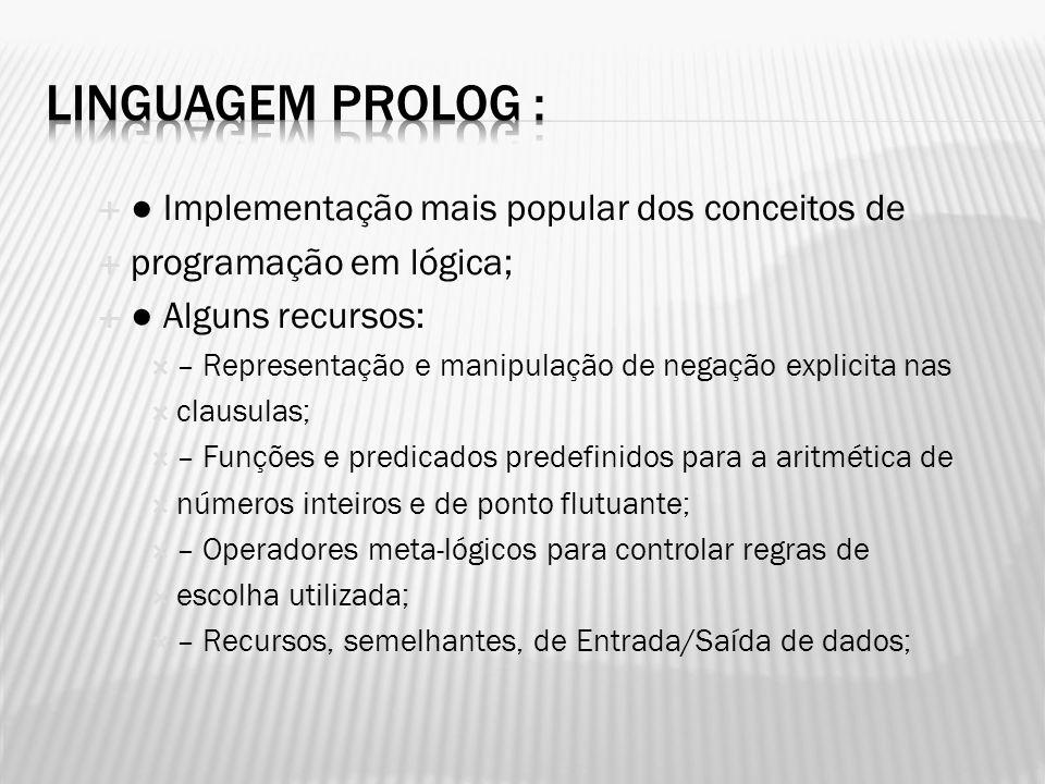 Linguagem Prolog : ● Implementação mais popular dos conceitos de