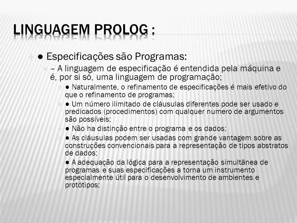Linguagem Prolog : ● Especificações são Programas: