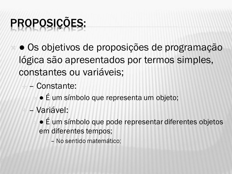 Proposições: ● Os objetivos de proposições de programação lógica são apresentados por termos simples, constantes ou variáveis;
