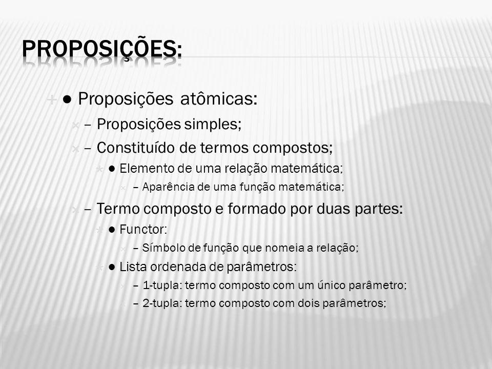 Proposições: ● Proposições atômicas: – Proposições simples;