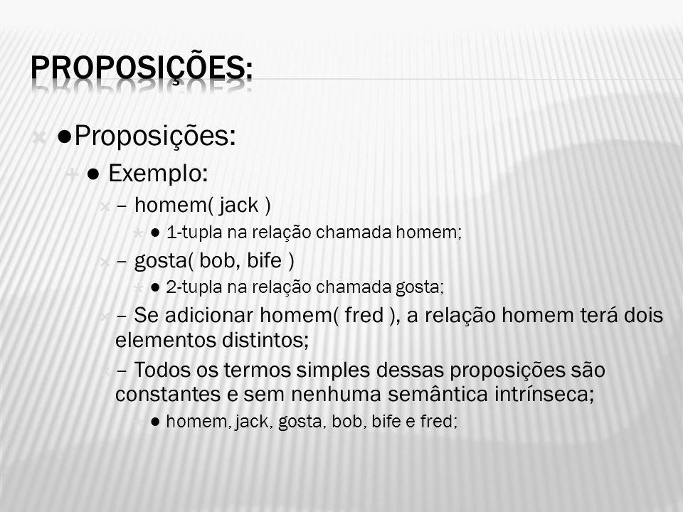 Proposições: ●Proposições: ● Exemplo: – homem( jack )