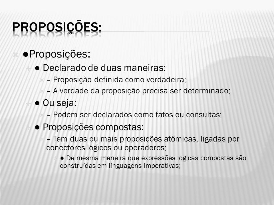 Proposições: ●Proposições: ● Declarado de duas maneiras: ● Ou seja: