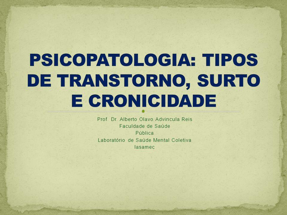 PSICOPATOLOGIA: TIPOS DE TRANSTORNO, SURTO E CRONICIDADE