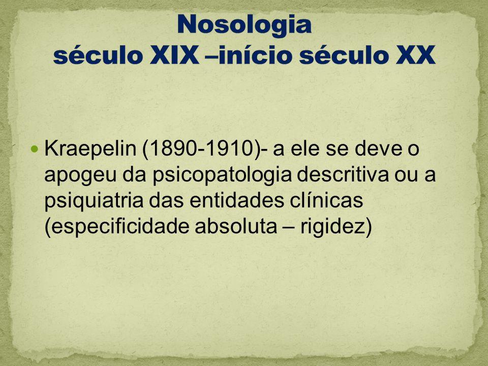 Nosologia século XIX –início século XX