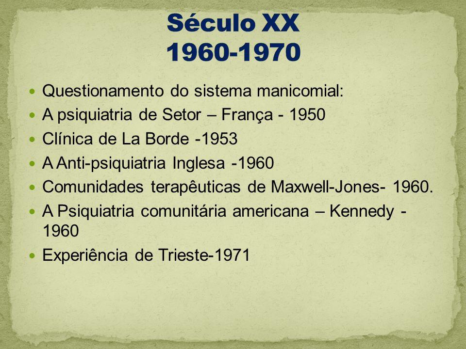 Século XX 1960-1970 Questionamento do sistema manicomial: