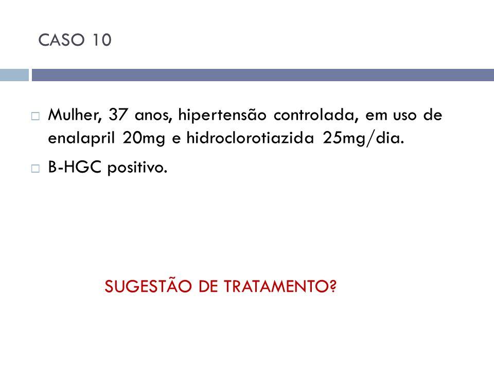 CASO 10 Mulher, 37 anos, hipertensão controlada, em uso de enalapril 20mg e hidroclorotiazida 25mg/dia.