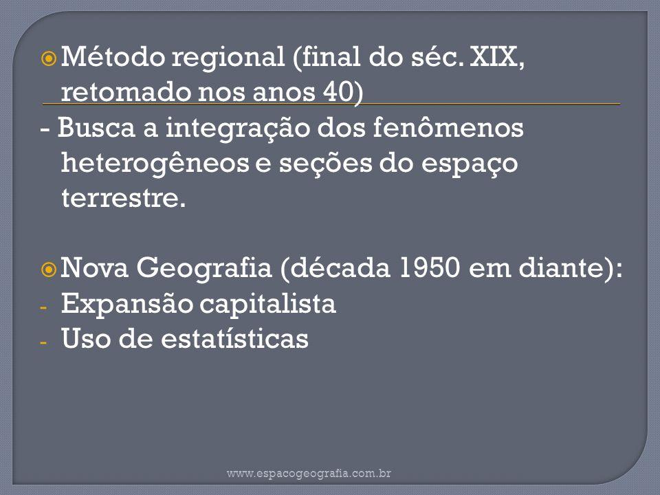 Método regional (final do séc. XIX, retomado nos anos 40)