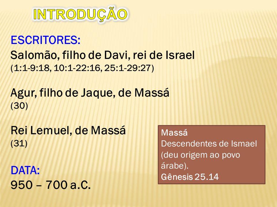 INTRODUÇÃO ESCRITORES: Salomão, filho de Davi, rei de Israel