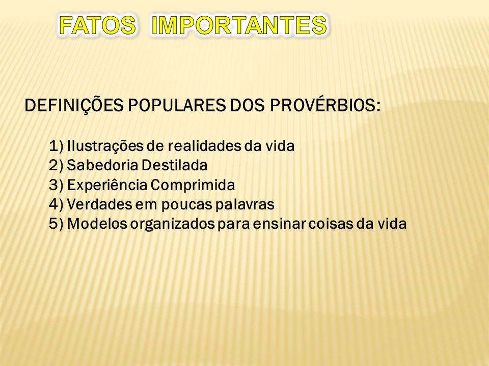 FATOS IMPORTANTES DEFINIÇÕES POPULARES DOS PROVÉRBIOS: