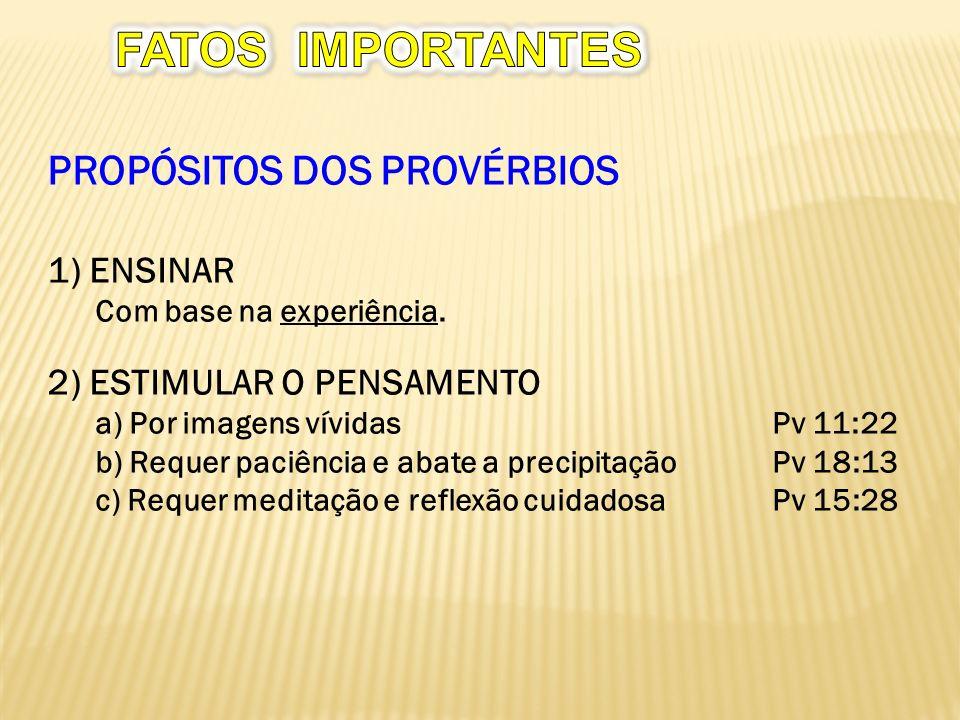 FATOS IMPORTANTES PROPÓSITOS DOS PROVÉRBIOS 1) ENSINAR