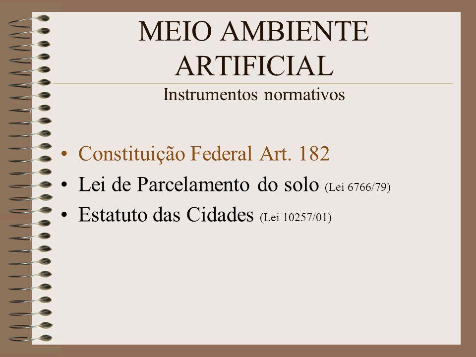 MEIO AMBIENTE ARTIFICIAL Instrumentos normativos