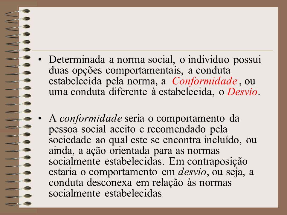 Determinada a norma social, o individuo possui duas opções comportamentais, a conduta estabelecida pela norma, a Conformidade , ou uma conduta diferente à estabelecida, o Desvio.