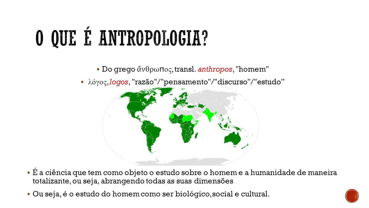 O que é antropologia Do grego ἄνθρωπος, transl. anthropos, homem