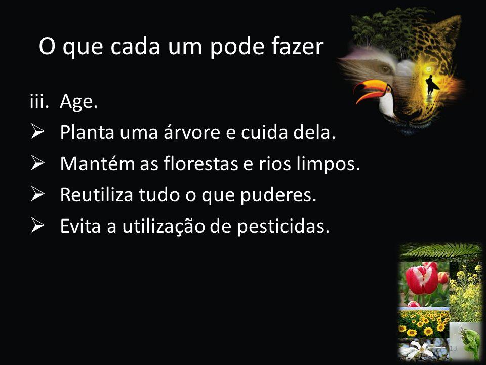 O que cada um pode fazer Age. Planta uma árvore e cuida dela.