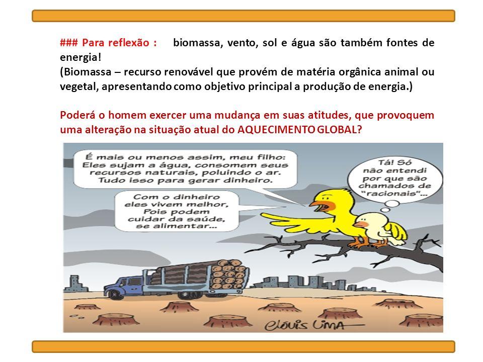 ### Para reflexão : biomassa, vento, sol e água são também fontes de energia!