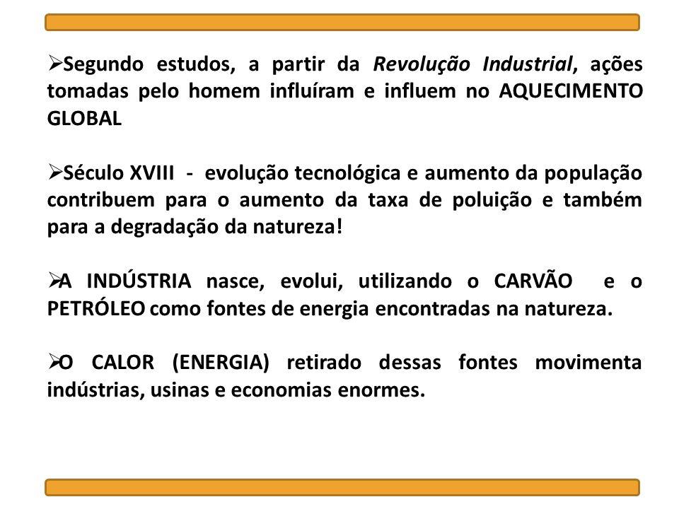 Segundo estudos, a partir da Revolução Industrial, ações tomadas pelo homem influíram e influem no AQUECIMENTO GLOBAL