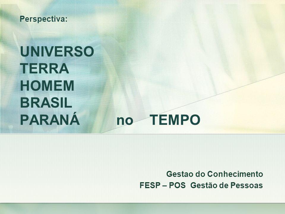 Perspectiva: UNIVERSO TERRA HOMEM BRASIL PARANÁ no TEMPO