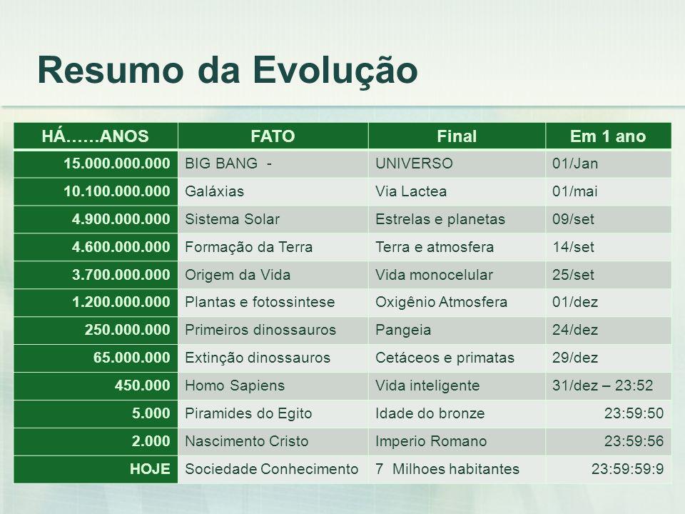Resumo da Evolução HÁ……ANOS FATO Final Em 1 ano 15.000.000.000