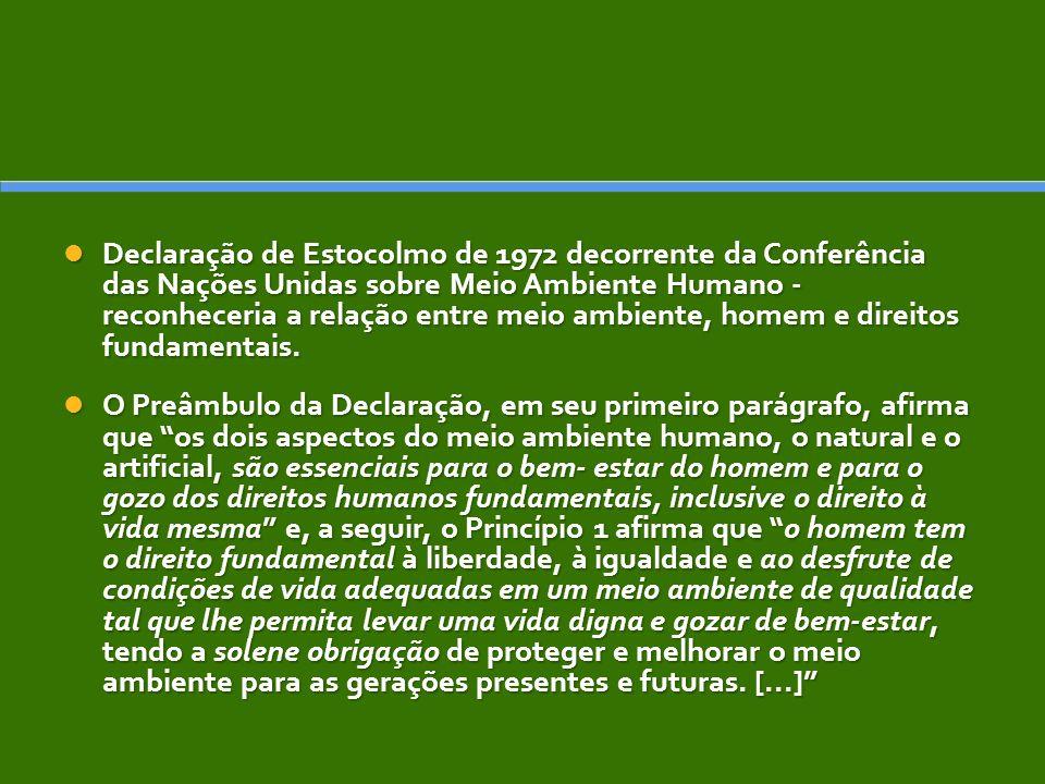 Declaração de Estocolmo de 1972 decorrente da Conferência das Nações Unidas sobre Meio Ambiente Humano - reconheceria a relação entre meio ambiente, homem e direitos fundamentais.