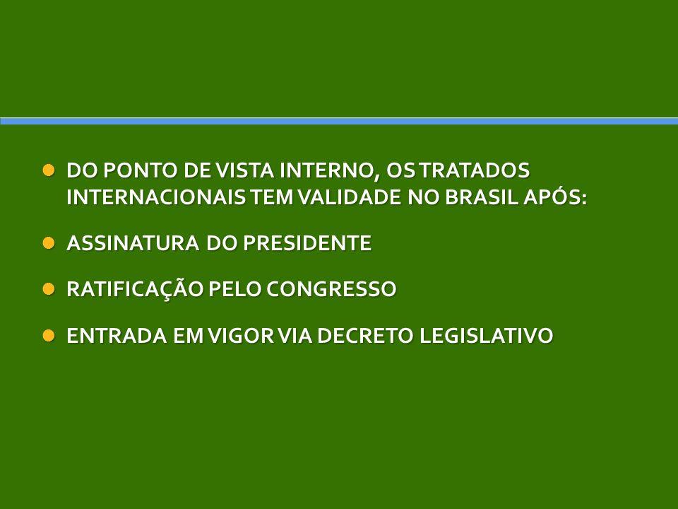 DO PONTO DE VISTA INTERNO, OS TRATADOS INTERNACIONAIS TEM VALIDADE NO BRASIL APÓS: