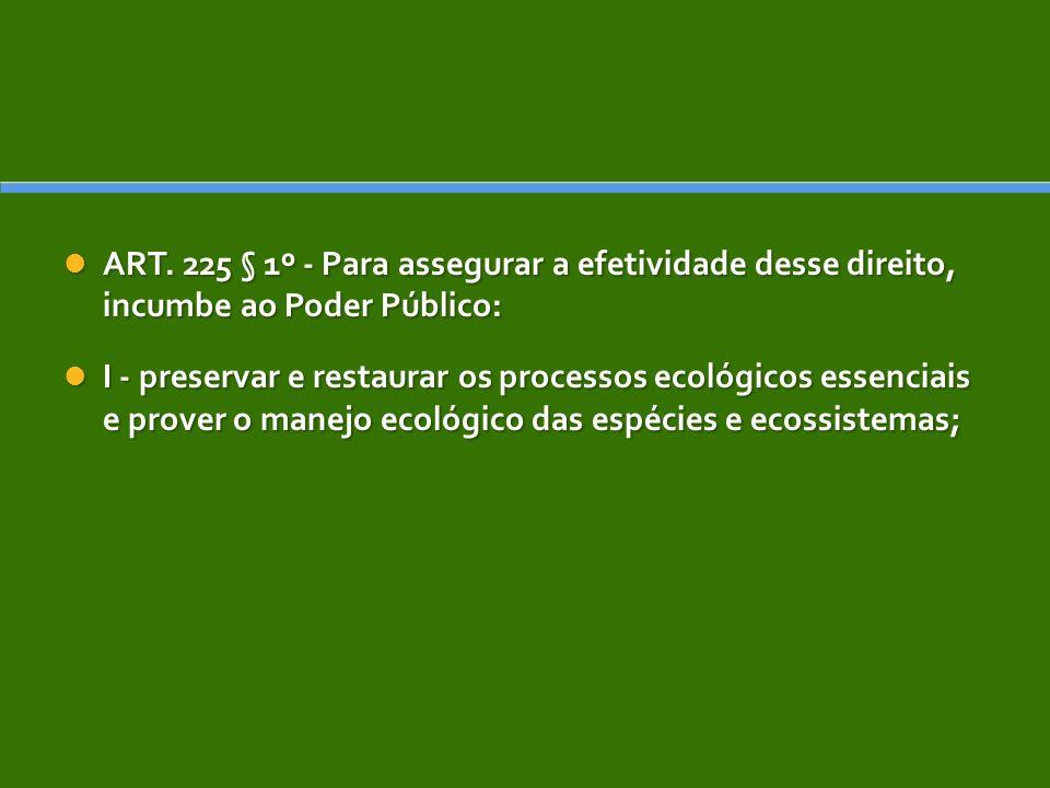 ART. 225 § 1º - Para assegurar a efetividade desse direito, incumbe ao Poder Público: