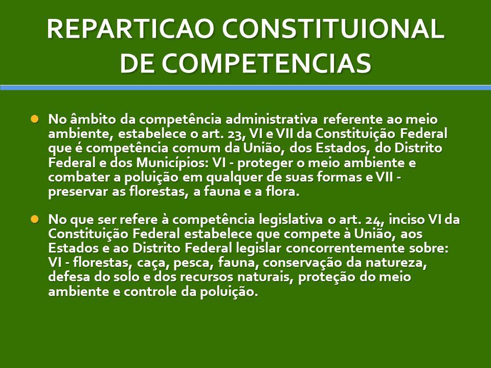 REPARTICAO CONSTITUIONAL DE COMPETENCIAS