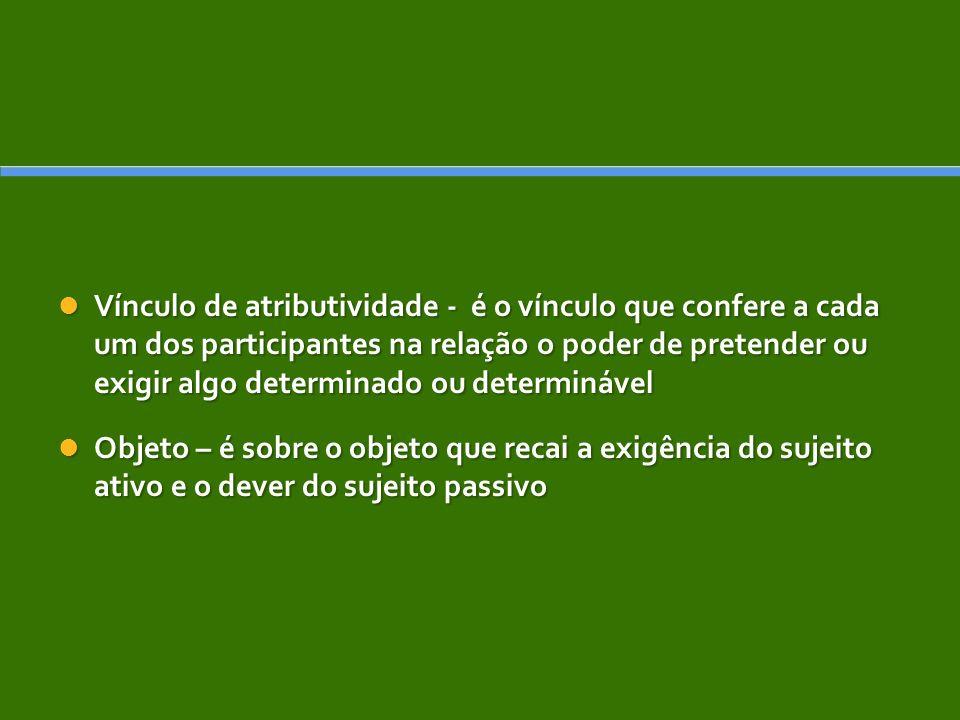 Vínculo de atributividade - é o vínculo que confere a cada um dos participantes na relação o poder de pretender ou exigir algo determinado ou determinável