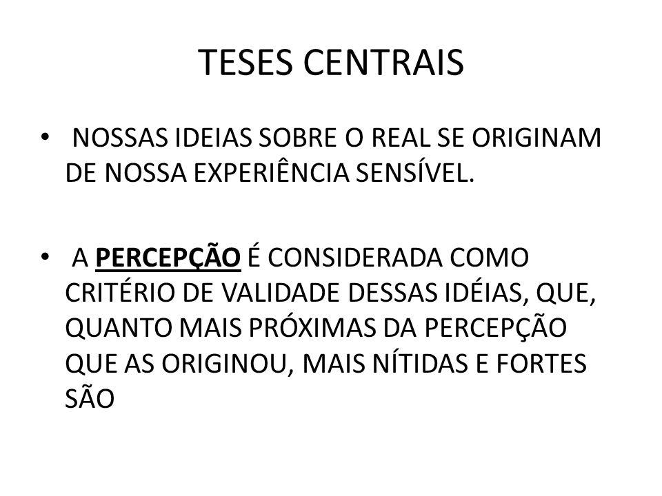 TESES CENTRAIS NOSSAS IDEIAS SOBRE O REAL SE ORIGINAM DE NOSSA EXPERIÊNCIA SENSÍVEL.