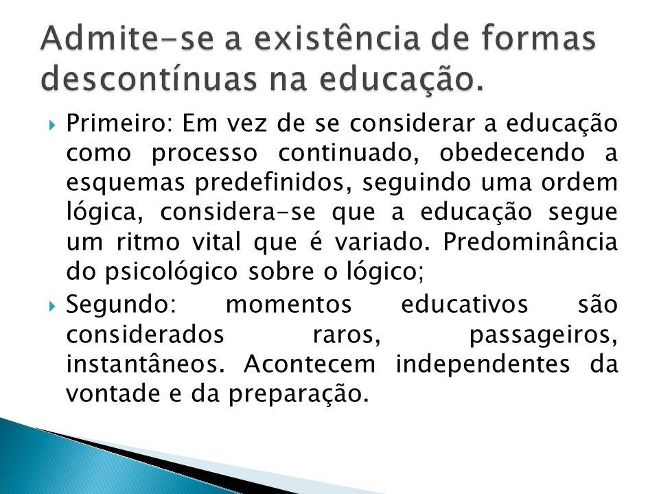 Admite-se a existência de formas descontínuas na educação.