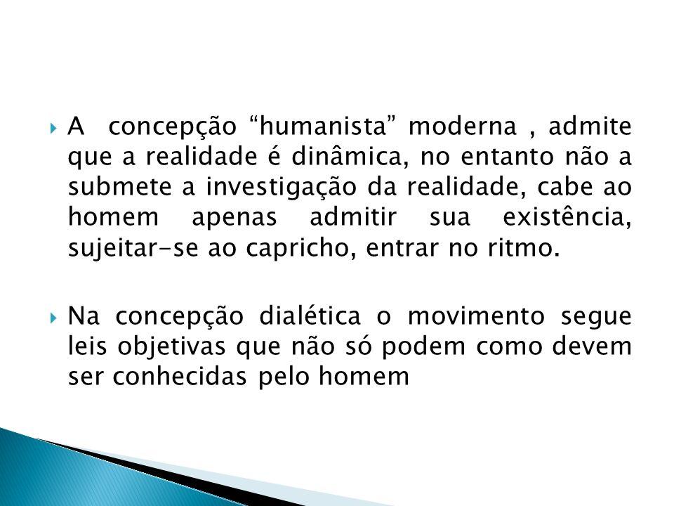 A concepção humanista moderna , admite que a realidade é dinâmica, no entanto não a submete a investigação da realidade, cabe ao homem apenas admitir sua existência, sujeitar-se ao capricho, entrar no ritmo.