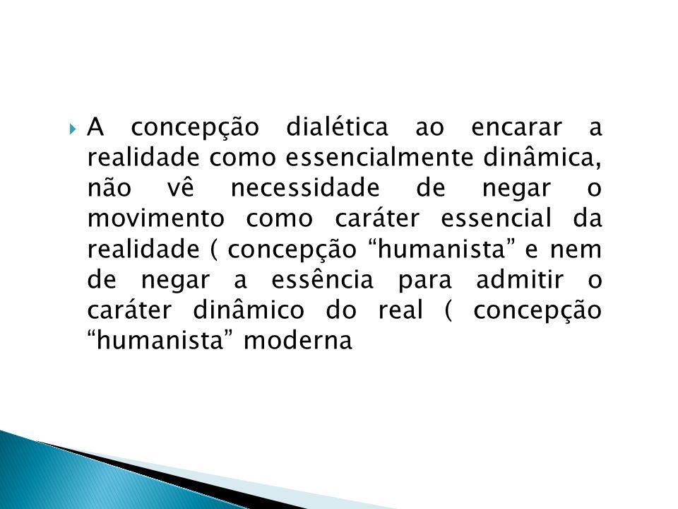 A concepção dialética ao encarar a realidade como essencialmente dinâmica, não vê necessidade de negar o movimento como caráter essencial da realidade ( concepção humanista e nem de negar a essência para admitir o caráter dinâmico do real ( concepção humanista moderna