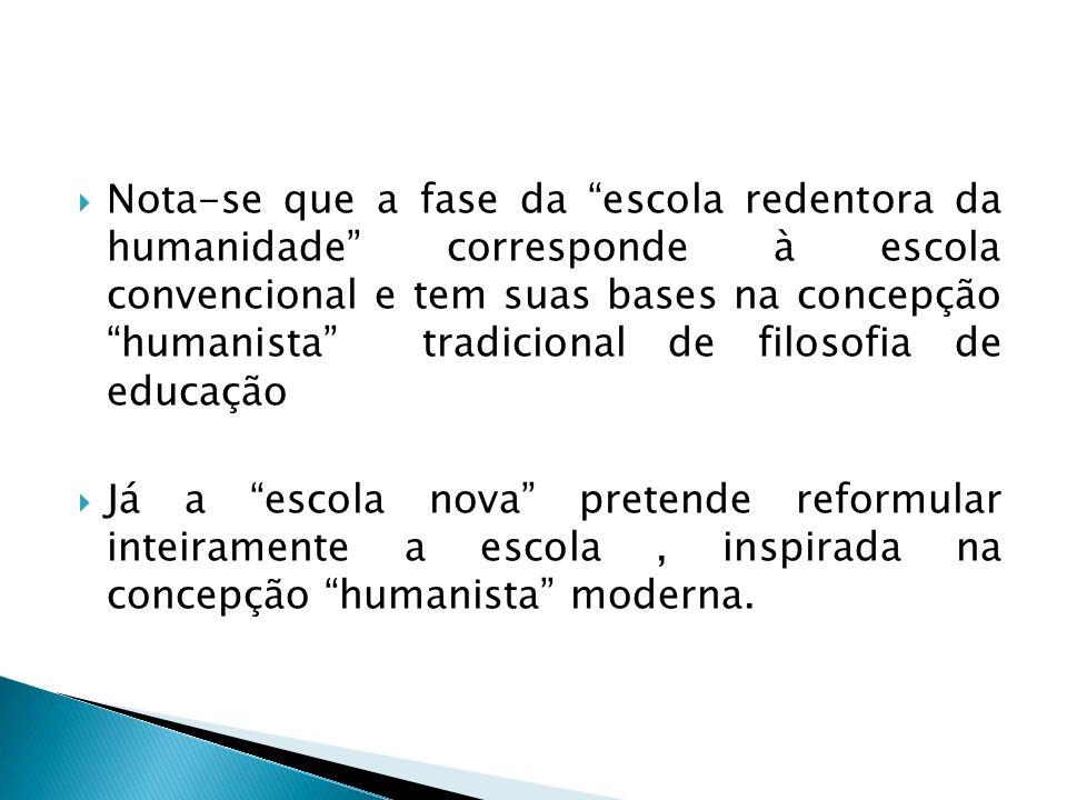 Nota-se que a fase da escola redentora da humanidade corresponde à escola convencional e tem suas bases na concepção humanista tradicional de filosofia de educação