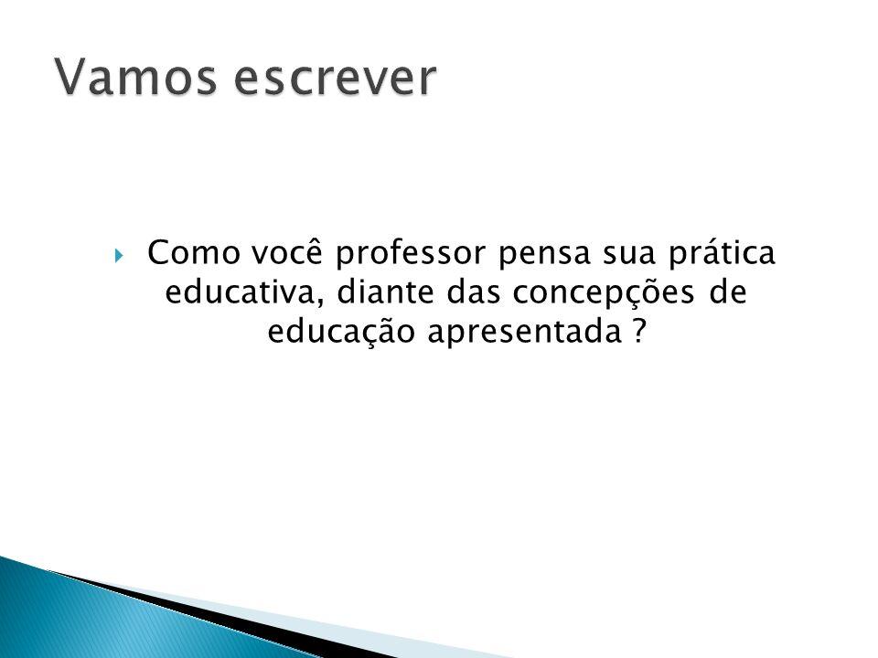 Vamos escrever Como você professor pensa sua prática educativa, diante das concepções de educação apresentada