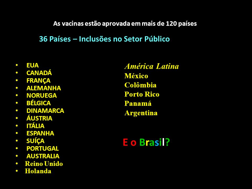 As vacinas estão aprovada em mais de 120 países