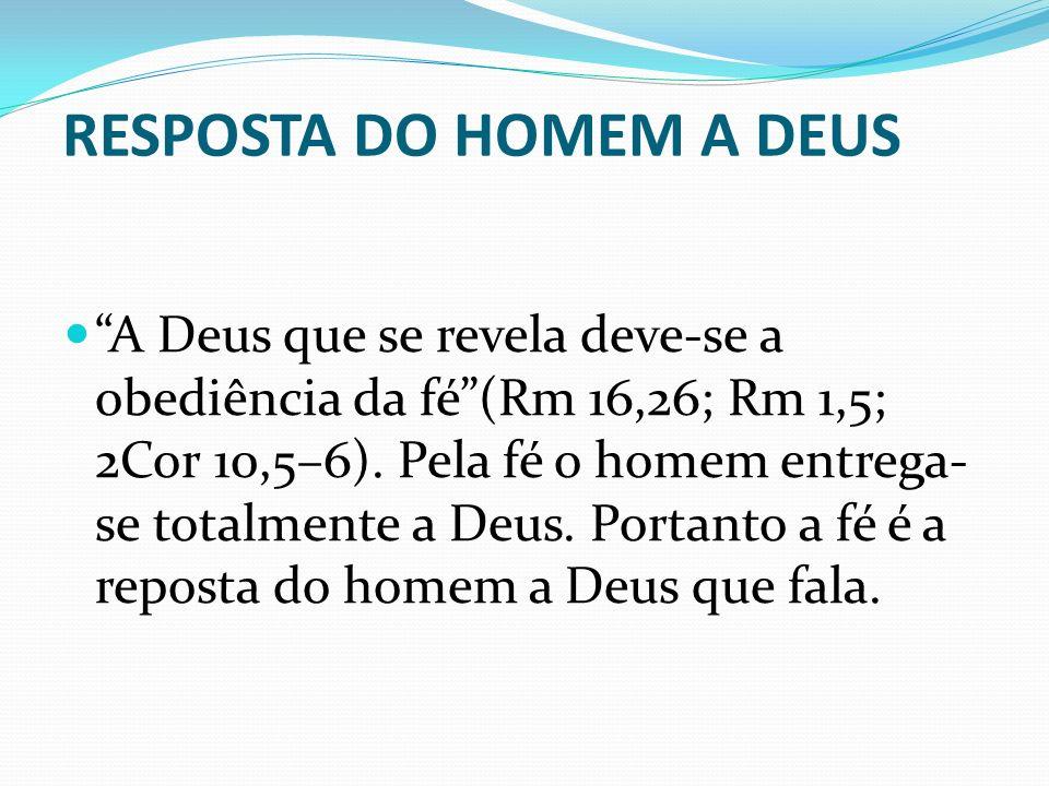 RESPOSTA DO HOMEM A DEUS