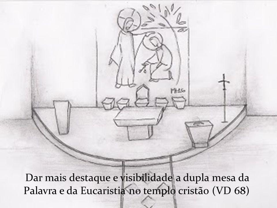 Dar mais destaque e visibilidade a dupla mesa da Palavra e da Eucaristia no templo cristão (VD 68)