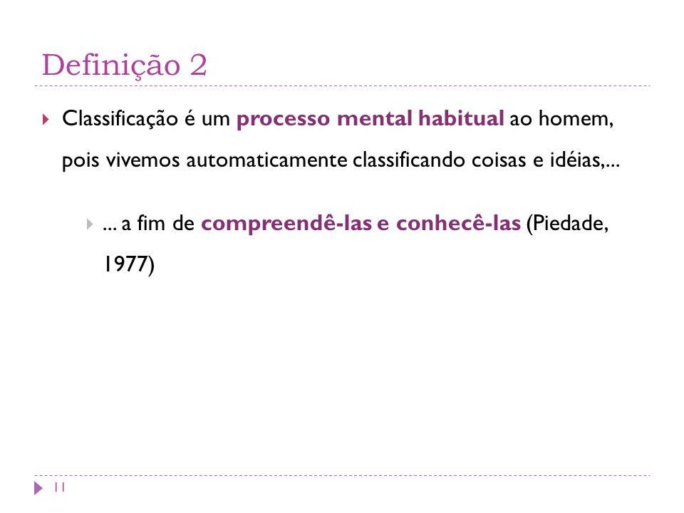 Definição 2 Classificação é um processo mental habitual ao homem, pois vivemos automaticamente classificando coisas e idéias,...