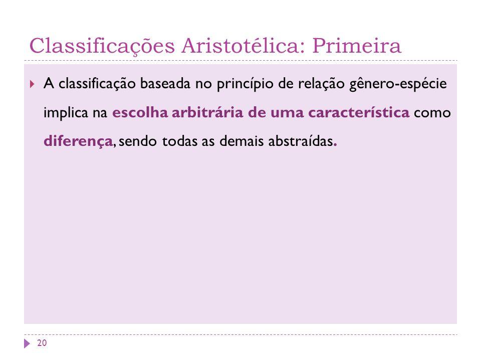 Classificações Aristotélica: Primeira