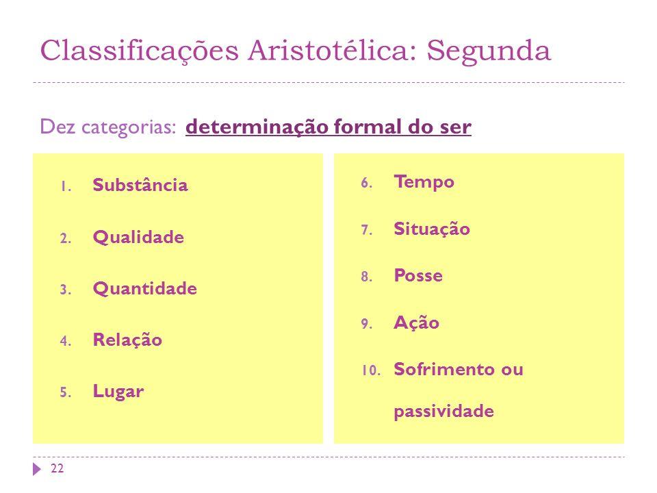 Classificações Aristotélica: Segunda
