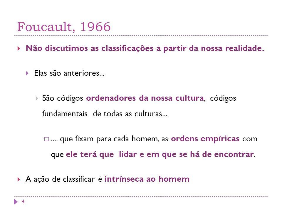 Foucault, 1966 Não discutimos as classificações a partir da nossa realidade. Elas são anteriores...