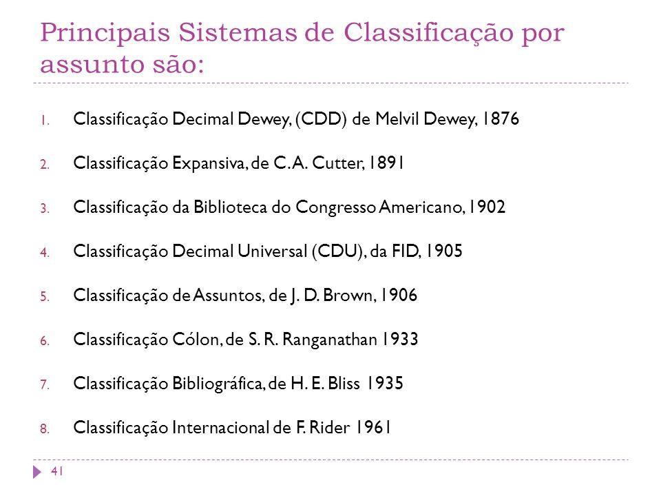 Principais Sistemas de Classificação por assunto são: