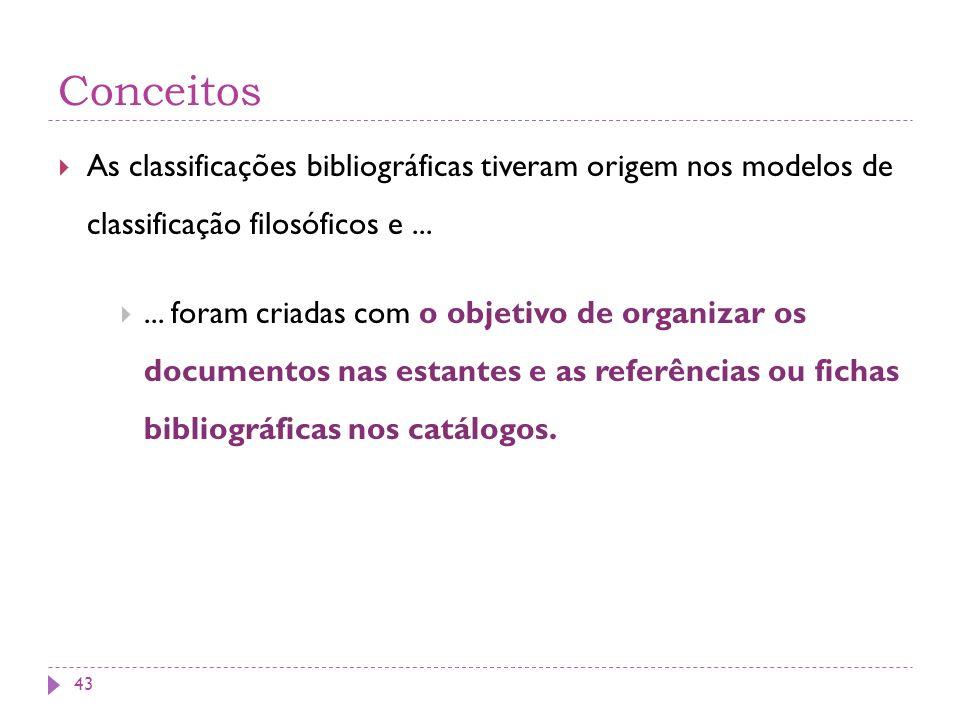 Conceitos As classificações bibliográficas tiveram origem nos modelos de classificação filosóficos e ...