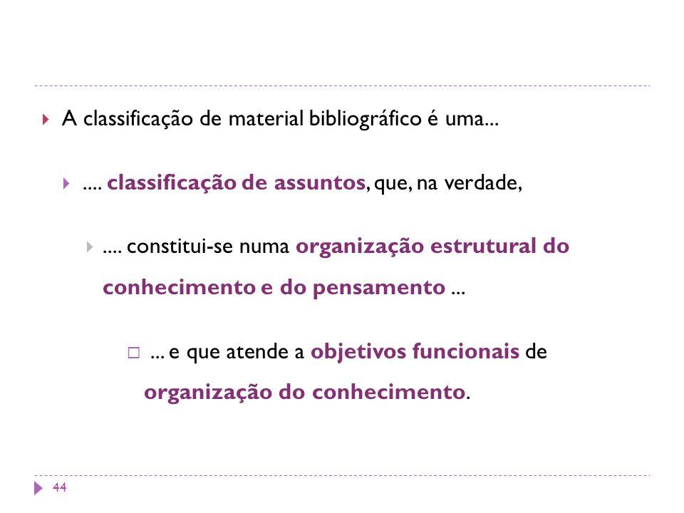 A classificação de material bibliográfico é uma...