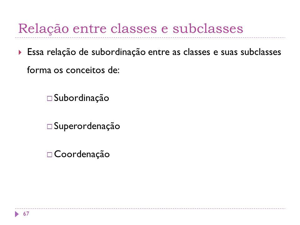 Relação entre classes e subclasses