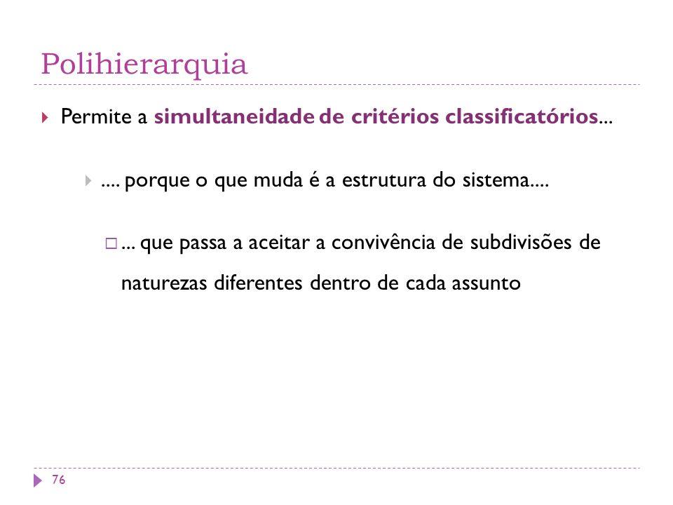 Polihierarquia Permite a simultaneidade de critérios classificatórios... .... porque o que muda é a estrutura do sistema....