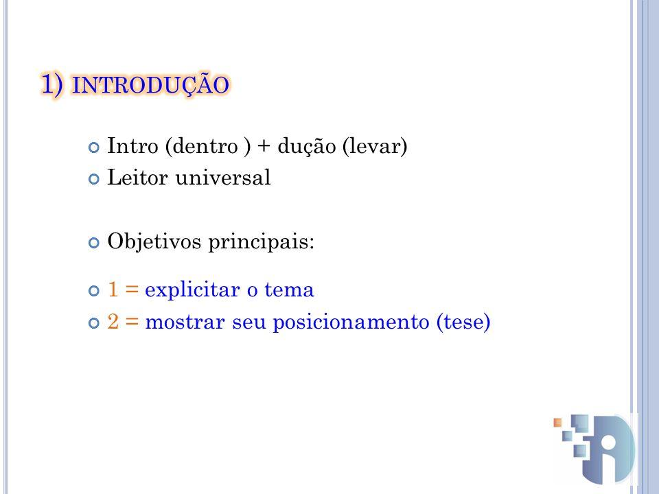 1) introdução Intro (dentro ) + dução (levar) Leitor universal