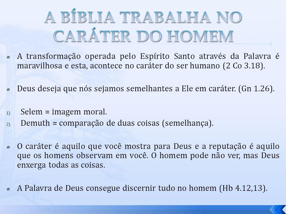 A BÍBLIA TRABALHA NO CARÁTER DO HOMEM