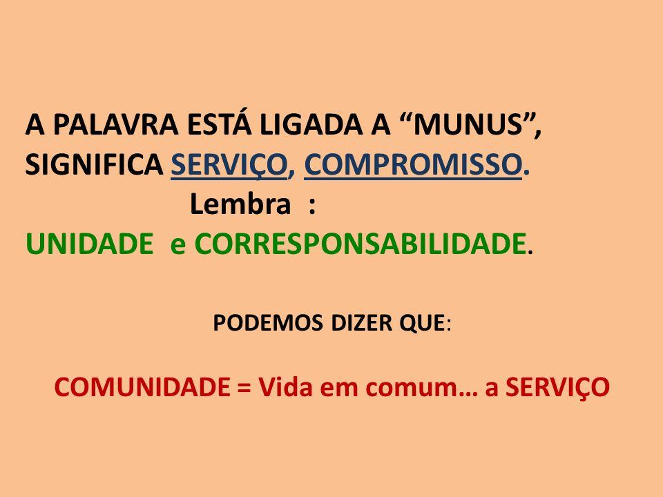 COMUNIDADE = Vida em comum… a SERVIÇO