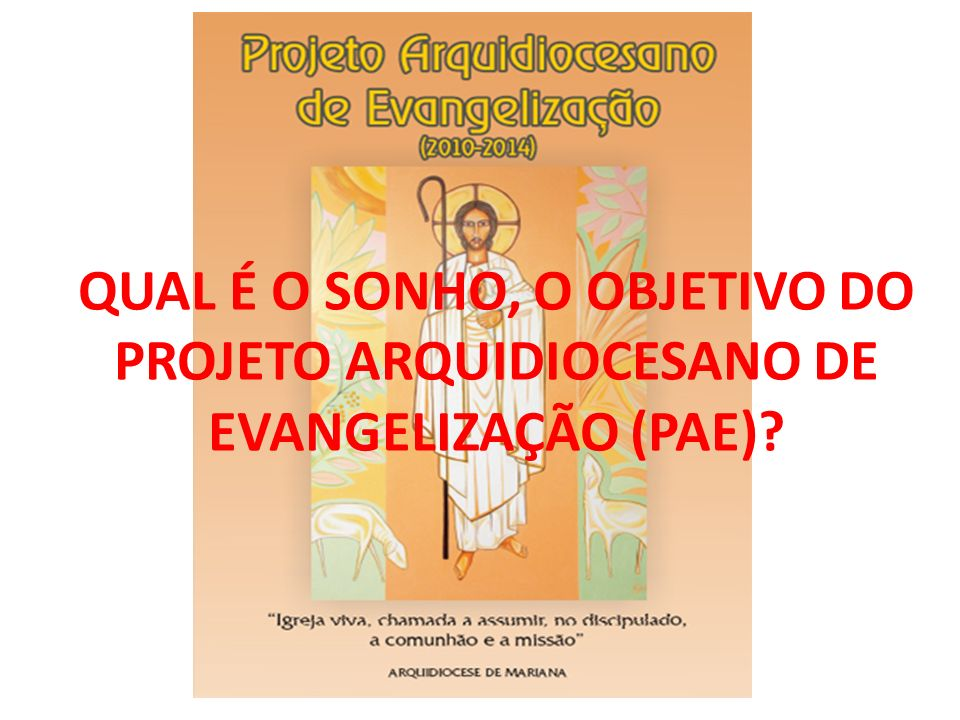 QUAL É O SONHO, O OBJETIVO DO PROJETO ARQUIDIOCESANO DE EVANGELIZAÇÃO (PAE)